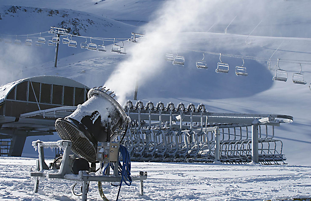 FIRING: A snowgun in action at Mt Hutt today.