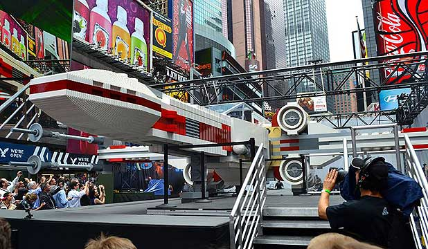 Lego unveils its life-sized Star Wars X-Wing fighter in New York's Times Square.