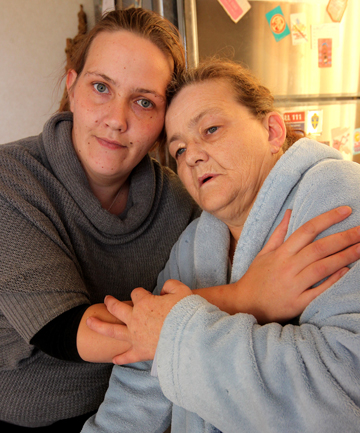 Location misery: Andrea Seymour, 52, and her daughter Emma, left, are worried Ms Seymour will not be approved for a property transfer by Housing New Zealand. Ms Seymour, who is battling cancer, wants to live closer to Wairau Hospital for regular chemotherapy sessions.