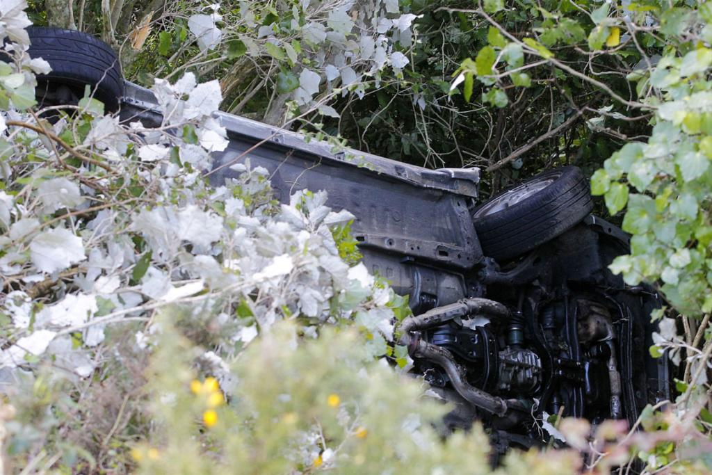 The underside of a car which was crashed on Paekakariki Hill Rd.