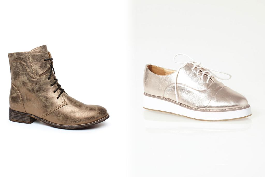 Number One Shoes Audra Boot, $69.99 and Glassons lace-up creepers, $39.99.