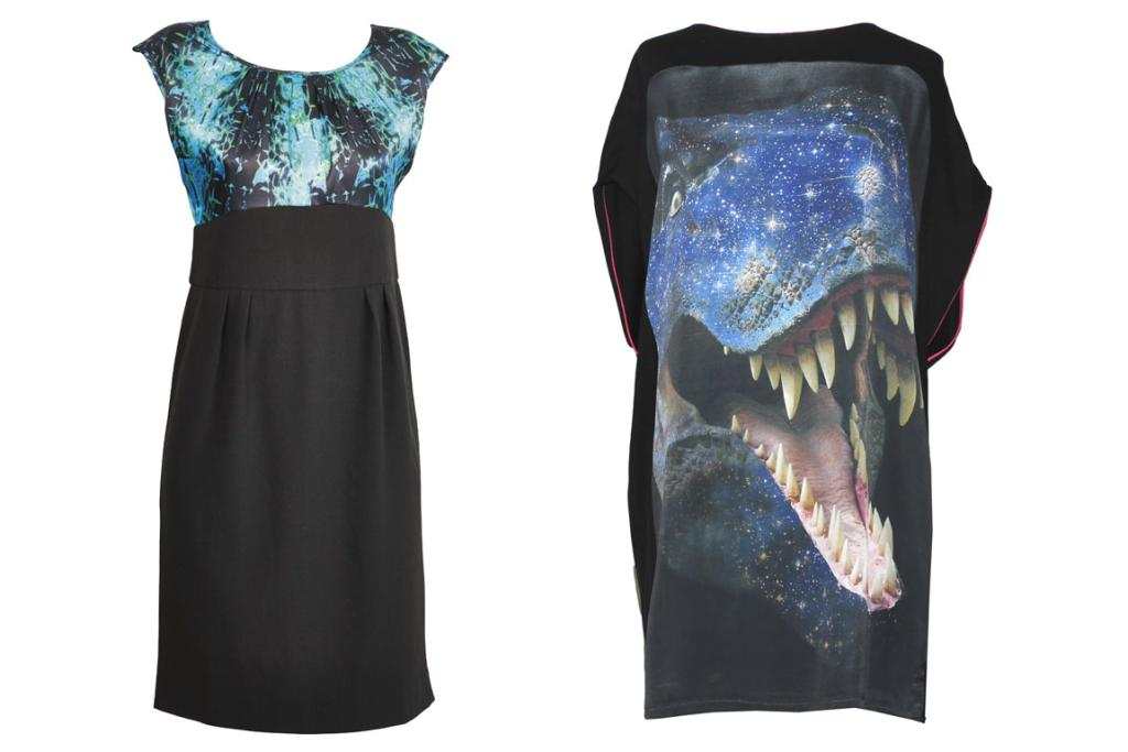 Farmers Jigsaw dress, $129.99 and Coop 'Attack' shift, $229.