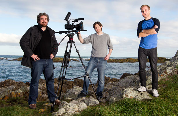 TWO DAYS FOR GLORY: Part of 2012's winning team, from left, director/editor Giles McNeill, crewman Marcus Young and actor Aidan Grealish.