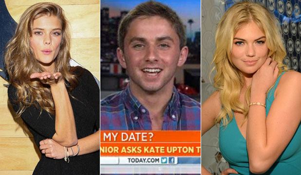 Nina Agdal is going to the prom with Jake Davidson after Kate Upton, right, turned him down.