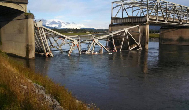 GONE: The collapsed section of the bridge.