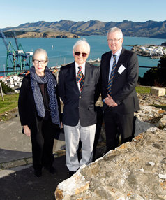 Landmark's David Chandler (centre) with NZHPT Board Chairperson Shonagh Kenderdine and NZHPT CE Bruce Chapman on the site of the Timeball Station.