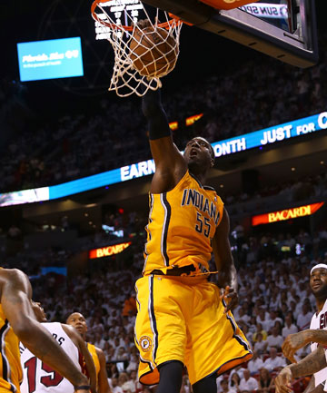 SLAM DUNK: Roy Hibbert top scored as the Indiana Pacers beat the Miami Heat in game two of the NBA Eastern Conference finals series.