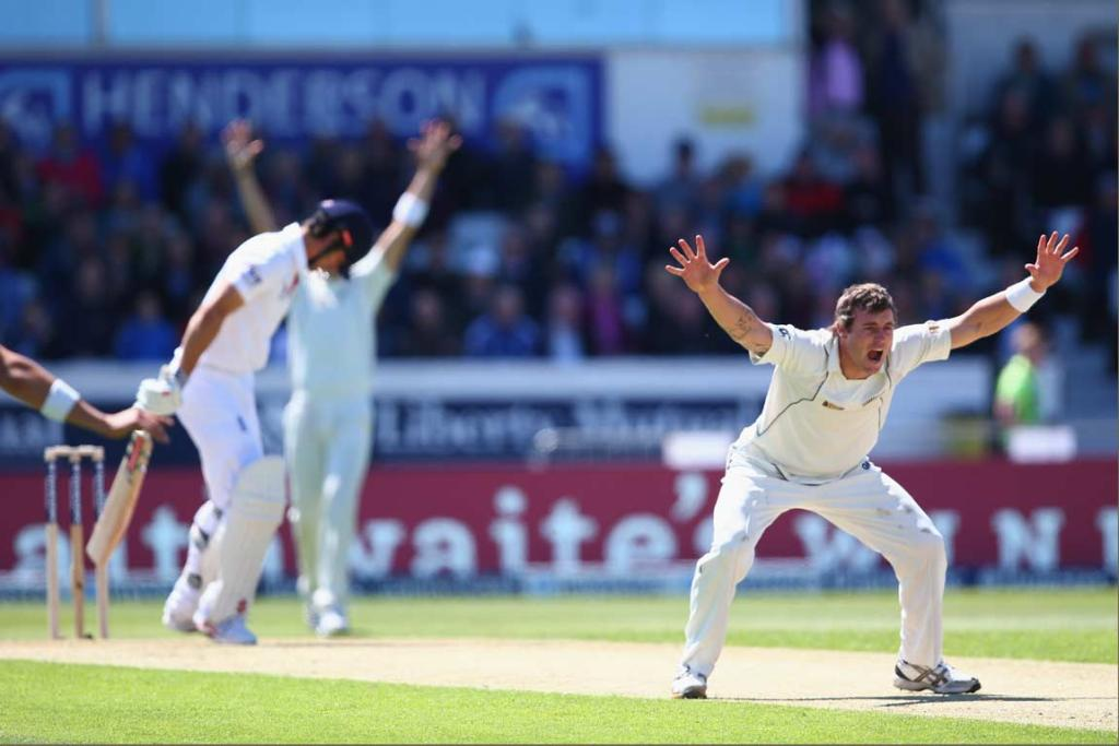 Doug Bracewell unsuccessfully appeals for an LBW decision during England's first innings.
