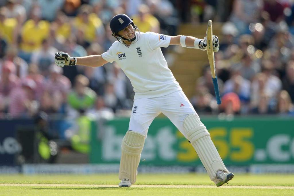 England's Joe Root pumps his fist after his maiden test century, at Headingley.
