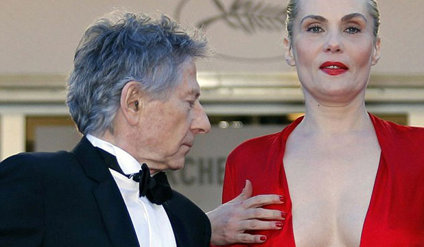 Roman Polanski couldn't take his eyes off his wife's chest. Neither could half the photographers at Cannes.
