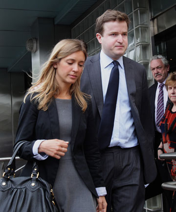 Michael Reynolds, who is the brother-in-law, and Ana Luisa Laudisio de Lucca, sister of Roberto Laudisio Curti, leaving the Glebe Coroners Court after the inquiry into the death of Roberto after being tasered by police in Sydney.