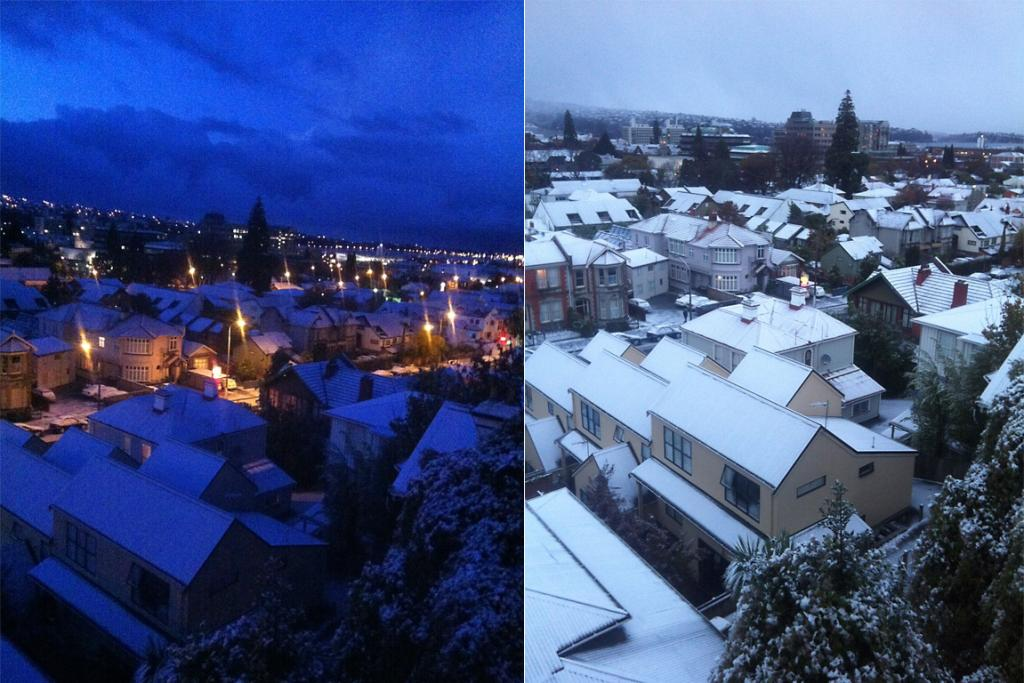 A snow-covered Dunedin as seen from Lianne Atkinson's student flat at 7.30am and 8.05am.