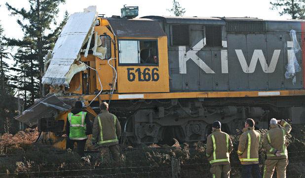 MESSY IMPACT: The locomotive was covered in debris during the collision with the truck.