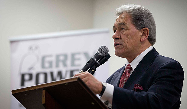 WARNING: New Zealand First leader Winston Peters addresses a Grey Power meeting in Mount Albert, Auckland.