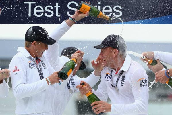 England spray champagne
