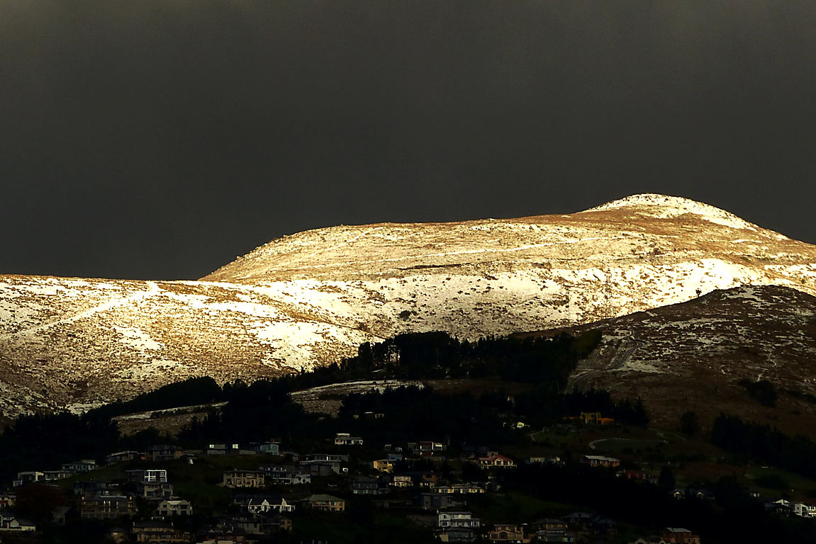 Snow glistens on Port Hills