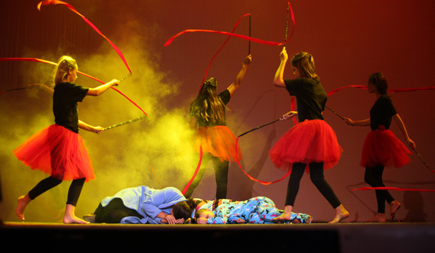 Tragic performance: Flames dance around the sleeping occupants of a house in Kaikoura High School's Stage Challenge performance. From left, Emma Rae, Tammy SmithKerr, Georgia