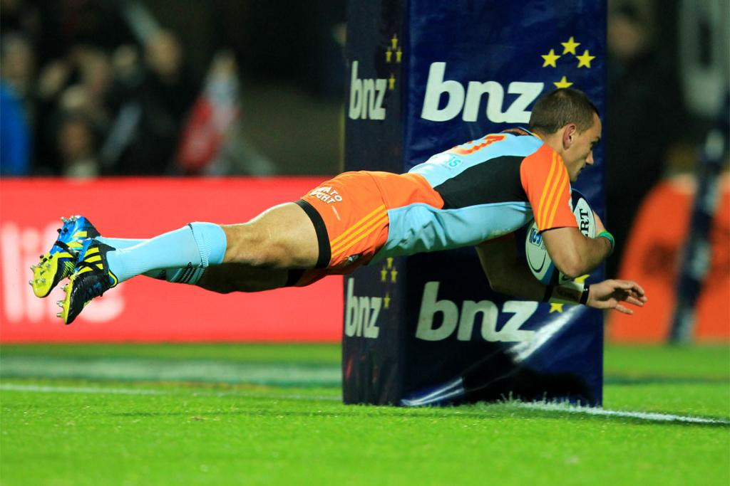 Aaron Cruden goes in to score the opening try against the Crusaders.