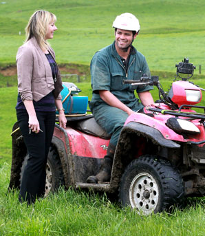 FARM RIDE: Minister of Business, Innovation and Employment inspector Jo-Ann Pugh and Omata farmer Kieran Green discuss quad bike safety.