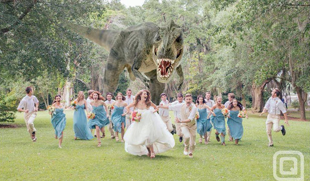 WHO INVITED THE T-REX?: J. Quinn Miller brings bite to his friends' wedding album.