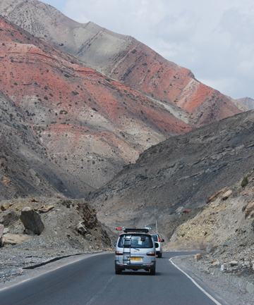 GRIM ROAD: The highway that leads to the Tunnel of Death in western Tajikstan.