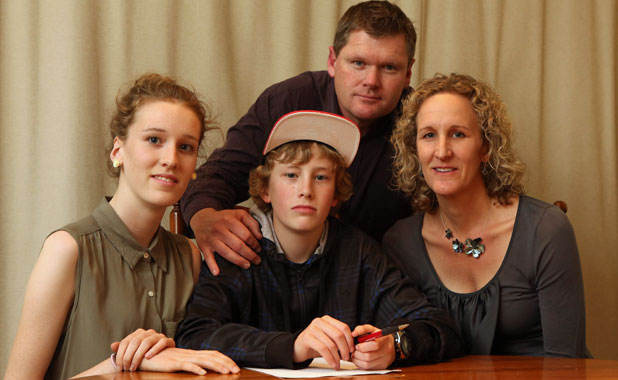 STATES BOUND: Emma, 17, left, Ian, 14, James and Jeni Johnstone are leaving Christchurch for the United States, disappointed in the lack of dyslexia support.