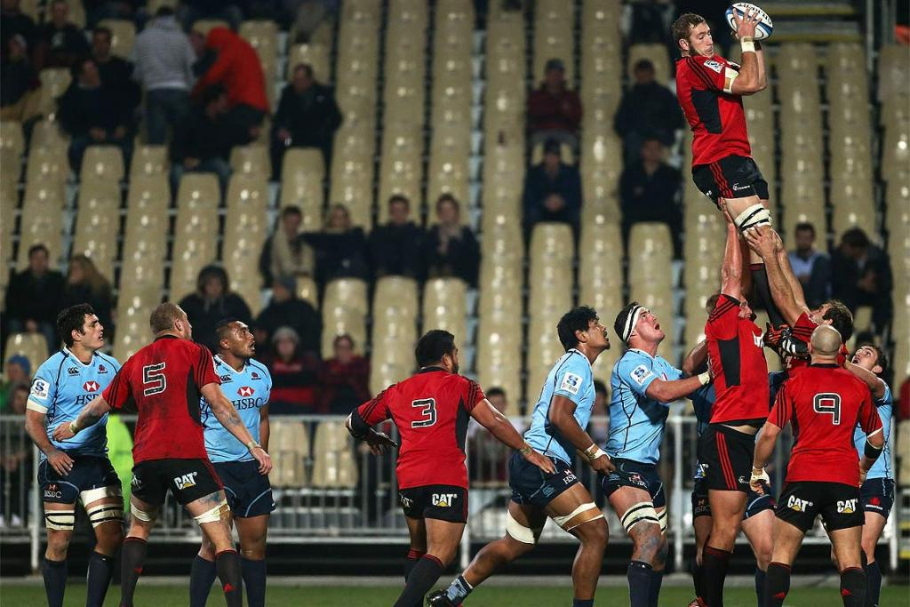 Luke Romano wins a lineout for the Crusaders against the Waratahs.