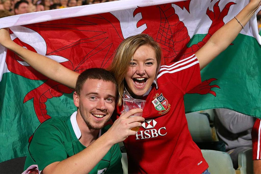 Celtic cousins: An Irish fan and a Welsh fan unite to support the Lions.