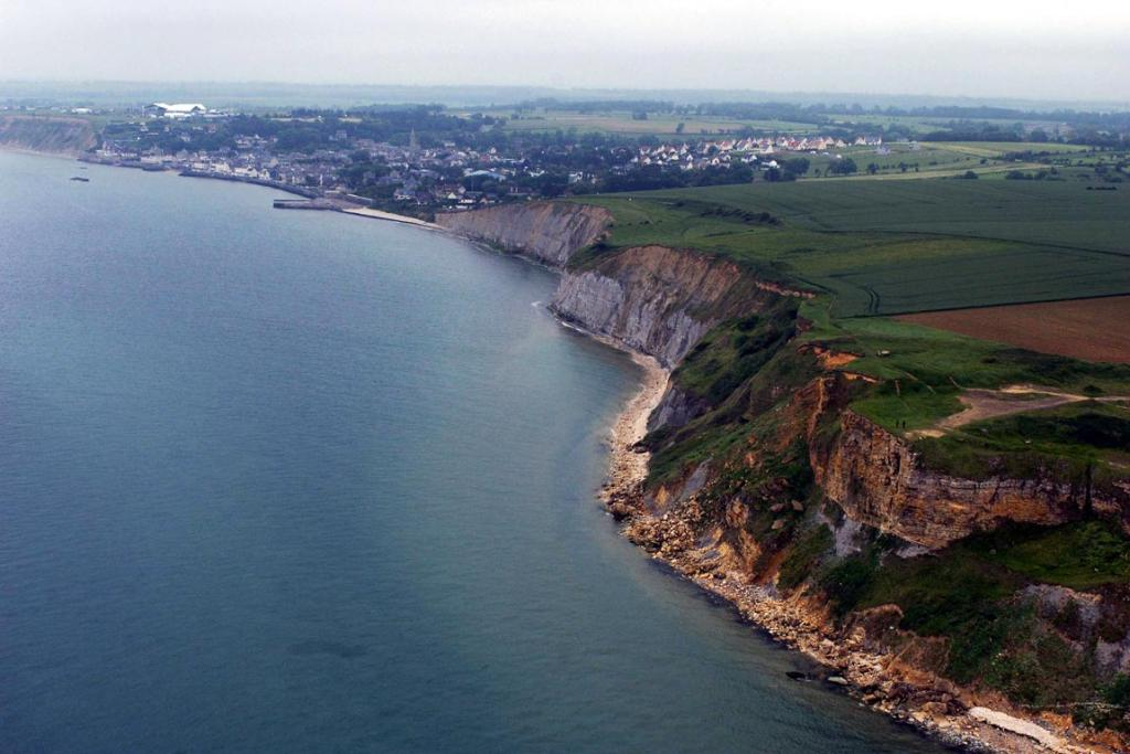 An aerial view of the French Normandy coast, near Arromanches.