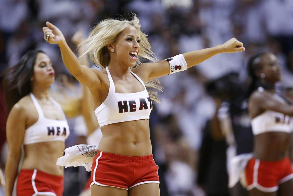 The Miami Heat cheerleaders do their best to get the home support revved up for Game One of the NBA Finals.