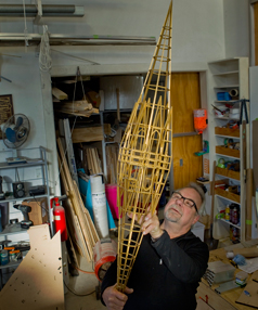 Sculptor Neil Dawson works on Spires in his Christchurch workshop.