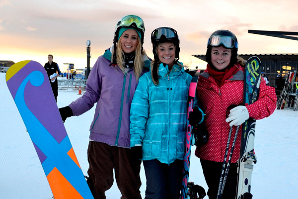 Queenstown girls celebrating the snow (L to R) Chloe Barry, Kate O'Flynn and Bridget Judd