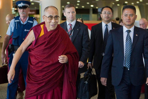 The Dalai Lama arrives at Christchurch International Airport.
