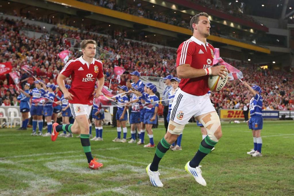 Sam Warburton leads the Lions out onto Suncorp Stadium in his debut match.