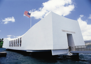 HARBOUR MONUMENT: The dramatically stark lines of the USS Arizona Memorial
