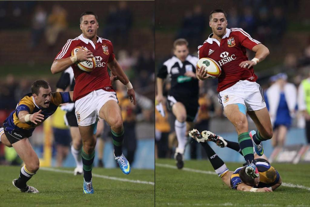 Sean Maitland skips away from the tackle of a Country Combined defender.