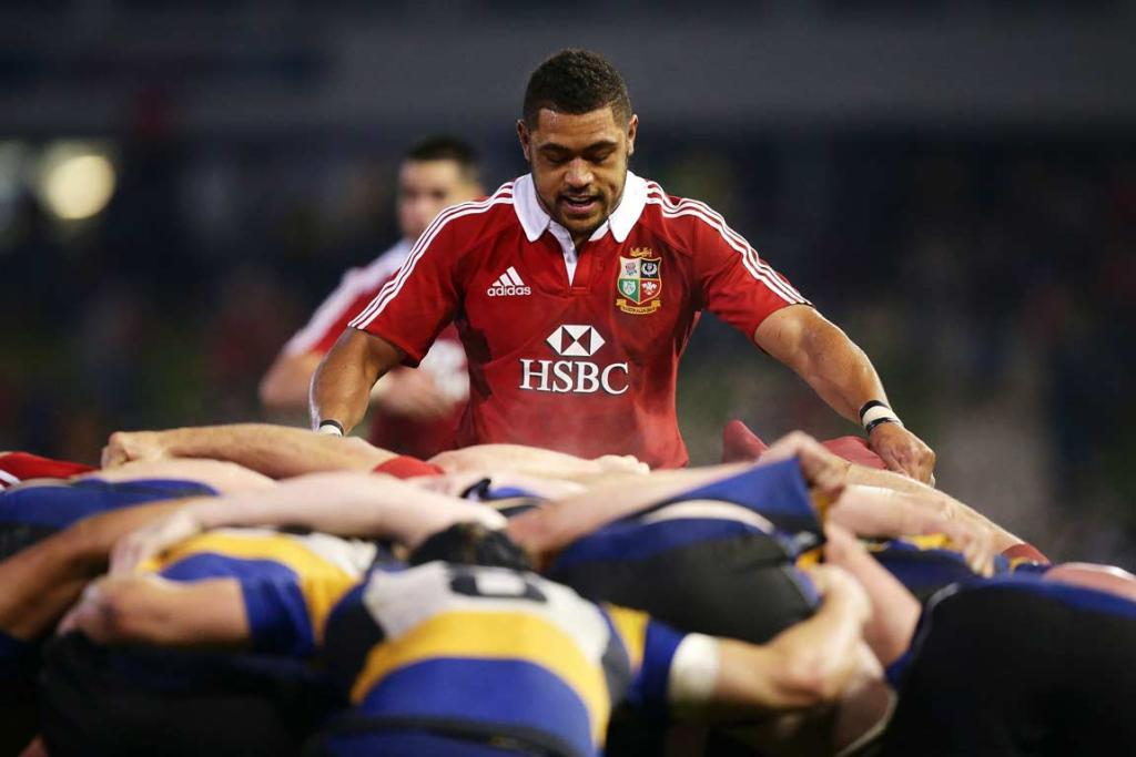 Lions No 8 Toby Faletau prepares to pack down into the scrum.