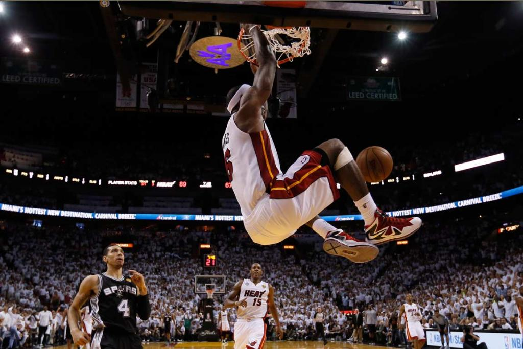 LeBron James throws down a vicious fourth-quarter dunk in the Game 2 rout.