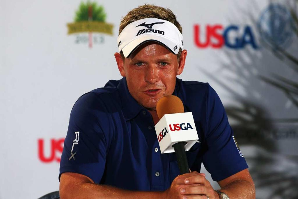 Luke Donald, still chasing his first major victory, speaks to the media following a practice round at Merion.