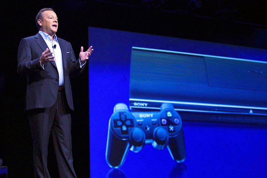 Sony Computer Entertainment America President and CEO Jack Tretton addresses the PlayStation news conference show.