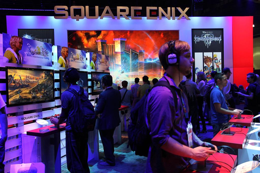 Attendees check out the games on offer  at the Square ENIX exhibit at E3.