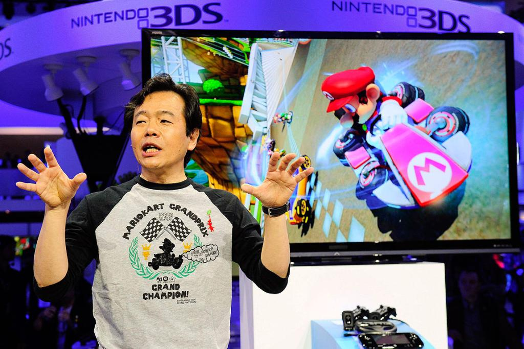 Game designer and producer Hideki Konno talks about Mario Kart 8 during the Wii U Software Showcase at E3.