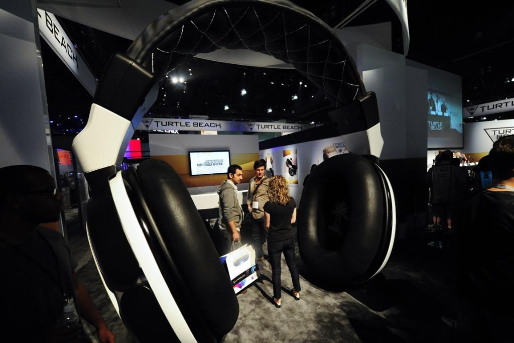 Visitors to the Turtle Beach booth are treated to music from a large version of their headsets.