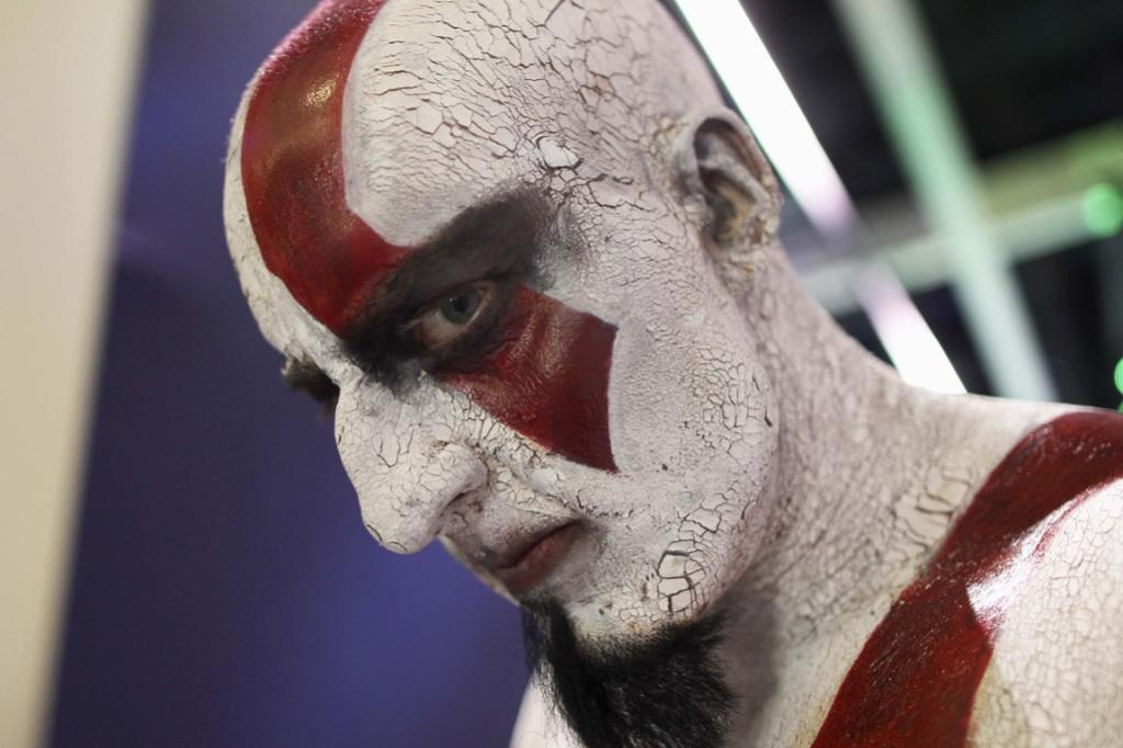 A man plays the role of the character Kratos of the Sony game, God of War.