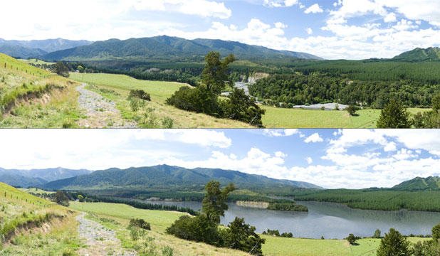 BEFORE AND AFTER: The proposed Ruataniwha water storage dam in Hawke's Bay.