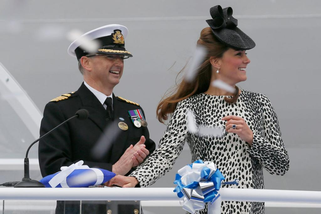 The ceremony involved a blessing, the tradition of smashing a bottle over the hull of the ship and a performance by the Royal Marines Band and the pipers of the Irish Guards.