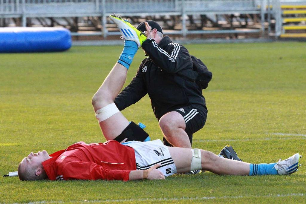 Brodie Retallick gets worked on by the All Blacks physio during a training session on Thursday.