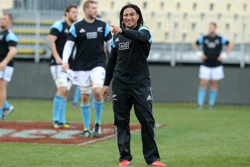 Ma'a Nonu shares a joke with a team-mate during the captain's run.