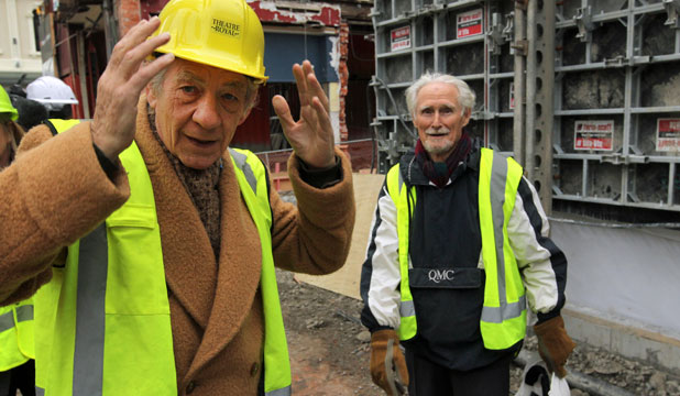 HAVING A GANDER: Sir Ian McKellen checks out the Isaac Theatre Royal rebuild on Gloucester St, Christchurch, on Saturday. To the right is Michael Elsworth who played McKellen's double in the Lord of the Rings movies. McKellen played the part of the wizard Gandalf in the cinematic trilogy.