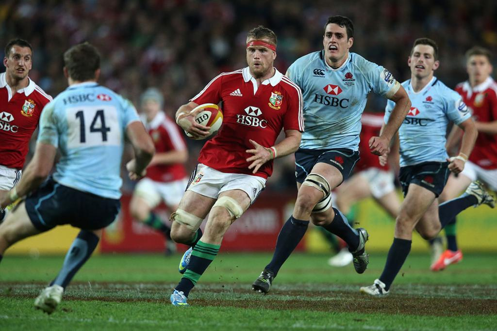 Jamie Heaslip of the Lions charges upfield during the match between the NSW Waratahs and the British & Irish Lions.